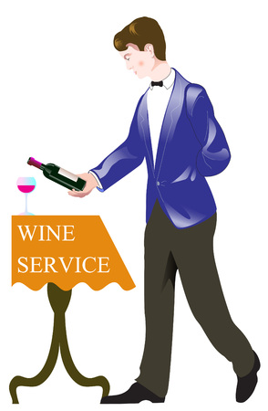 vector illustration silhouette waiter on blue bluse pours wine into a glass from bottle with text