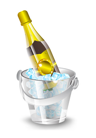 vector illustration bottle of champagne in a glass ice bucket with shadow on white background Illustration