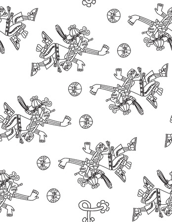cult: vector illustration stylized seamless aztec pattern with sportsman and ball on white background