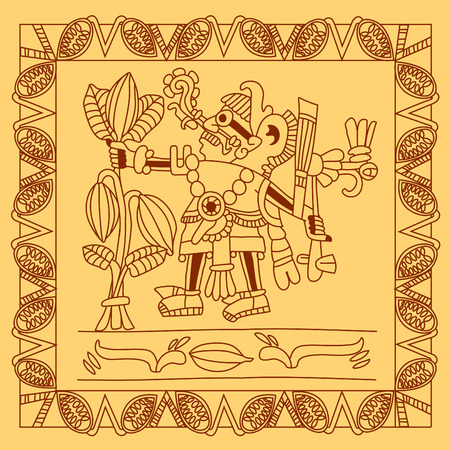 cacao: vector illustration sketch drawing contour pattern maya, aztec and cacao nibs on brown color and yellow background