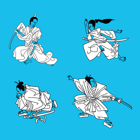 scheide: vector illustration stylized four warrior samurai on blue background