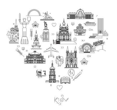 vector illustration flat style line art Kiev city poster with text