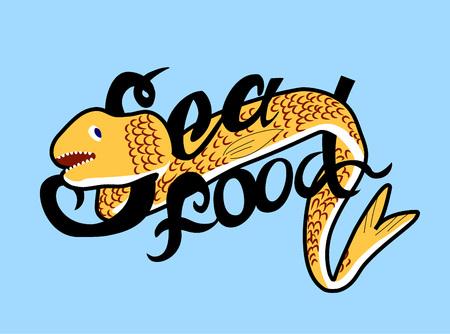 moray: vector illustration stylized seafood with moray on blue background Illustration