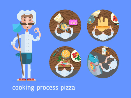 vector illustration cooking process pizza flat with chef on blue background Illustration