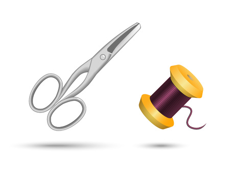 vector illustration scissors and spool of thread on white background Illustration
