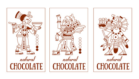 cacao: vector illustration sketch drawing contour pattern maya, aztec and cacao nibs, chocolate label logotype on brown color in white background