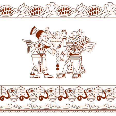 illustration vectorielle dessin croquis aztec de fève de cacao, feuilles, plumes, motif