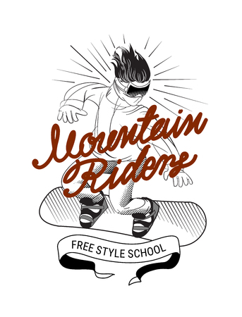 vector illustration with a man on a snowboard going down a hill in vintage style with calligraphy text on white background