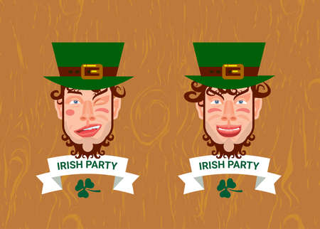 clover face: vector illustration label logotype to saint patricks day with smiling face of man with beard, green hat, lettering,white ribbon, clover leaf on wooden background