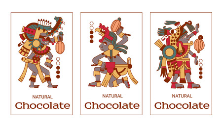 cacao: vector illustration sketch drawing contour pattern maya, aztec and cacao nibs, chocolate logotype on brown, red, green, grey, yellow colors in white background