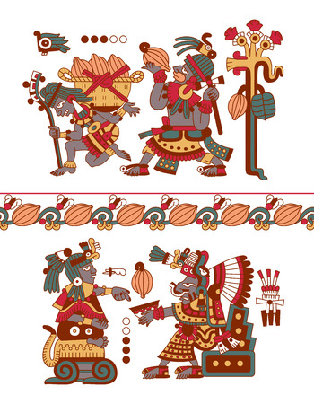cacao: vector illustration sketch drawing aztec pattern cacao tree, mayans, cacao beans and decorative borders yellow, red, green, brown, grey colors on white background