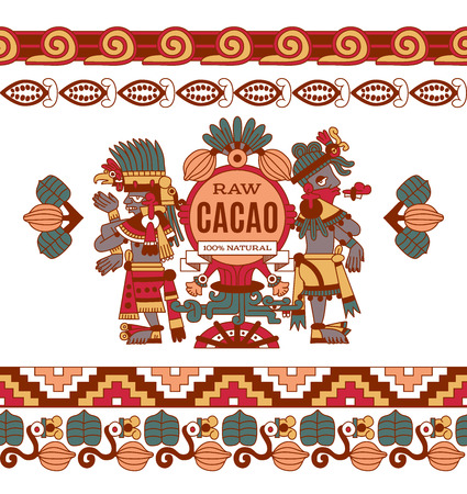 cacao: vector illustration sketch drawing contour pattern maya, aztec and cacao nibs, chocolate label logotype on brown, red, green, grey, yellow colors in white background