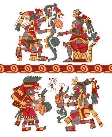 illustration vectorielle dessin aztec arbre modèle de cacao, mayans, les fèves de cacao et des bordures décoratives jaune, rouge, vert, brun, couleurs grises sur fond blanc croquis