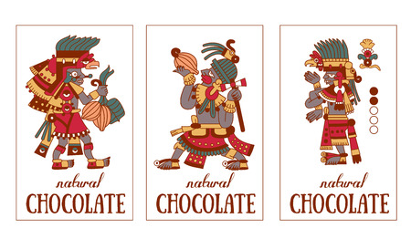 vector illustration sketch drawing contour pattern maya, aztec and cacao nibs, chocolate label logotype on brown, red, green, grey, yellow colors in white background