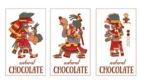 ilustración vectorial de dibujo boceto maya patrón de contorno, plumillas azteca y cacao, chocolate etiqueta de logotipo en colores marrón, rojo, verde, gris, de color amarillo en el fondo blanco Logos