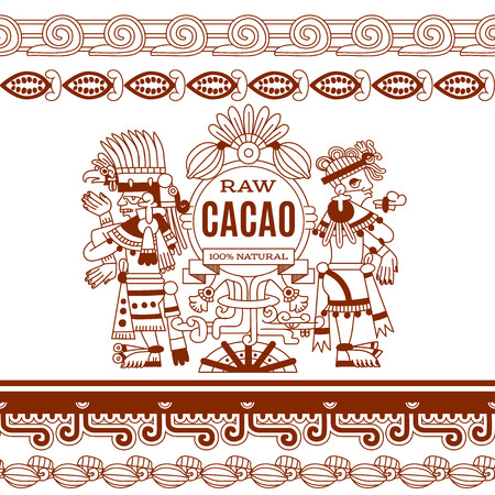 Vektor-Illustration Skizze Zeichnung aztekische Kakaobohne, Blätter, Federn, Muster