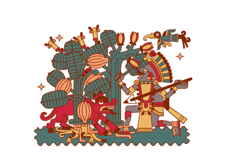 vector illustration sketch drawing aztec cacao bean, leaves, nibs, pattern for chocolate package design on brown, red, green, grey, yellow colors in white background