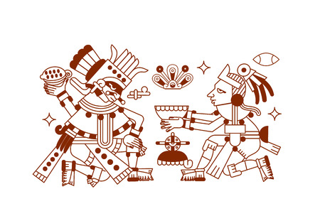 vector illustration sketch drawing aztec cacao bean, leaves, nibs, pattern for chocolate package design on brown color in white background