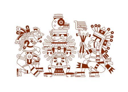 vector illustratie schets tekening Azteekse cacaoboon, bladeren, punten, patroon voor chocolade pakket ontwerp op bruine kleur in witte achtergrond Stock Illustratie