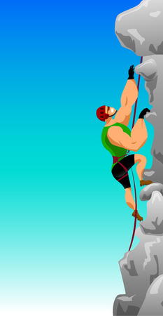 steep: vector illustration climber with climbing equipment on a steep rock cliff against the blue sky Illustration