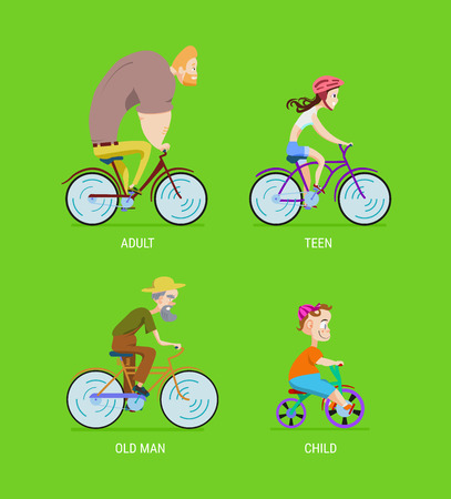 vector illustration Bicycle Poster separation by age in cartoon style on a green background