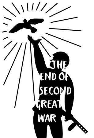 vector illustration poster to great victory day with silhouette of a soldier with the issuing of a dove hands with the text on a white background