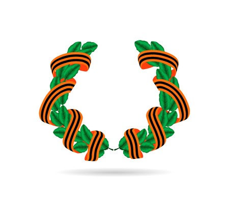 vector illustration laurel wreath with an orange and black stripes ribbons on white background Illustration