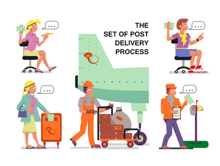 vector illustration the set of post delivery process with girl, couriers, the post airplane, postman on white background