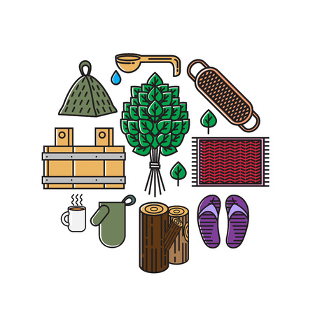 vector illustration bath and sauna icon collection in flat style isolated Illustration