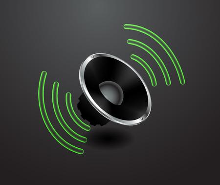 vector illustration loudspeaker acoustic system on black background