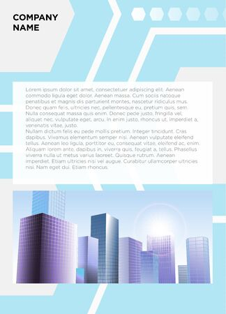 project charter: vector illustration info banner text frame mockup. Urban city view font