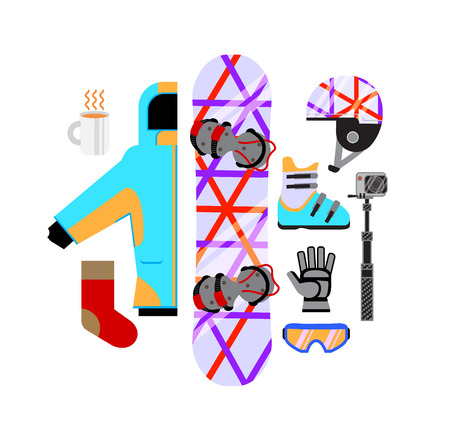 vector illustration snowboard equipment collection in flat style isolated