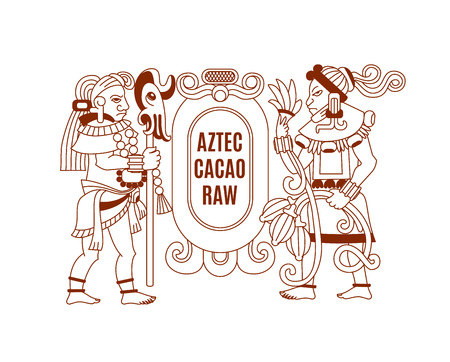 Aztec cacao label for chocolate package design Illustration