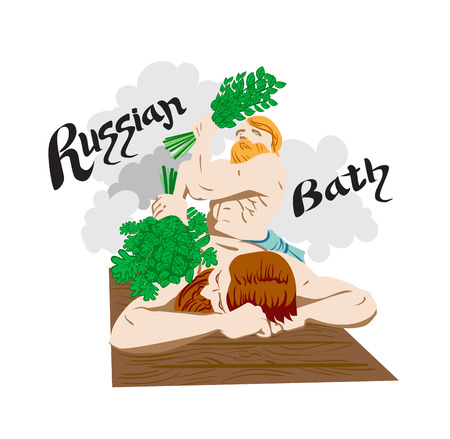 Bath and sauna poster with a female character Illustration