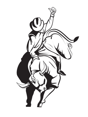 Rodeo cowboy riding a wild bull. Illustration