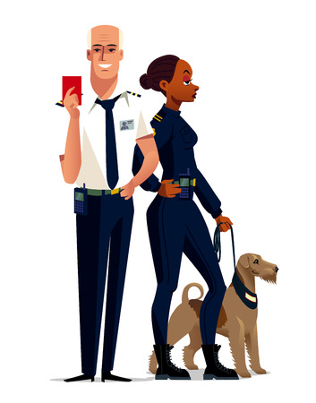 Illustration set with customs male and woman officer Çizim
