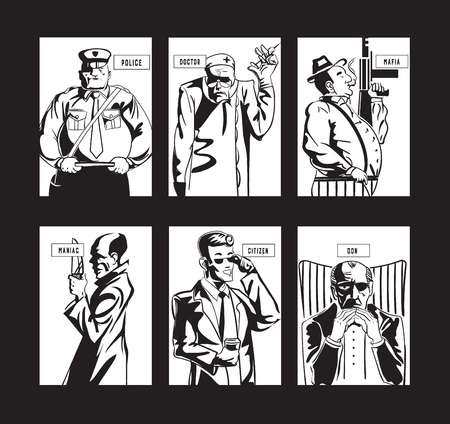 Stylized character collection for Mafia gameplay cards in black and white.