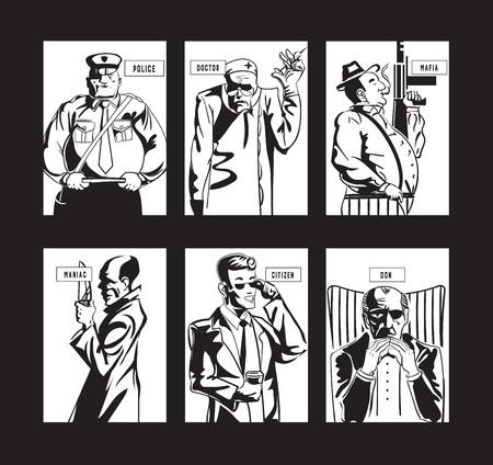 Gestileerde personage-verzameling voor maffia-gameplay-kaarten in zwart en wit. Stock Illustratie