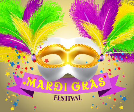 harlequin clown in disguise: Mardi Gras festival poster with carnival mask and text.