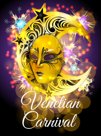 Venetian Carnival poster with a golden mask