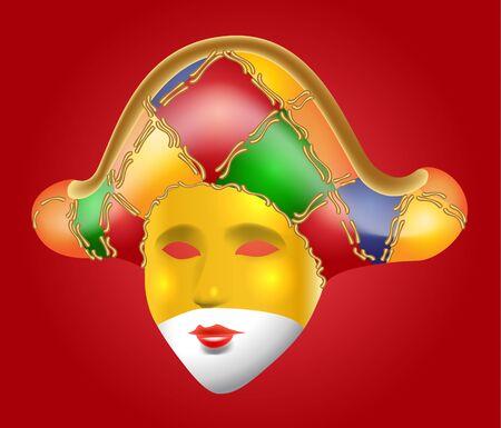 Carnival mask on red backdrop.