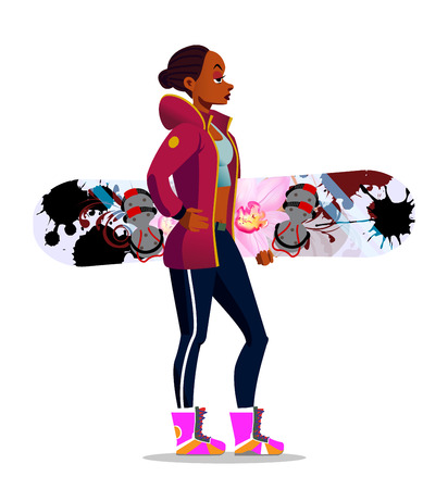 Cartoon Afro-American girl with a snowboard.