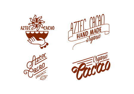 Vector illustration aztec cacao logo collection for chocolate package design. Illustration
