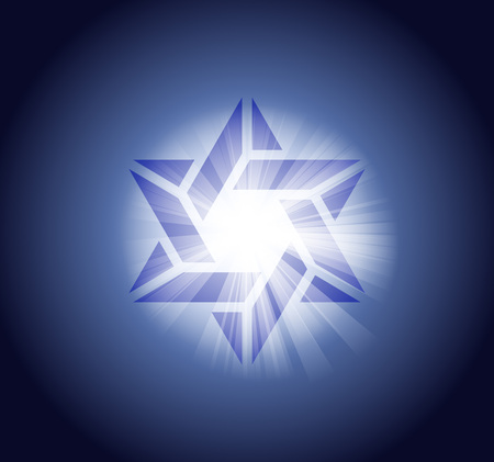 A Vector illustration Jewish Star of David on dark backdrop with light effects.