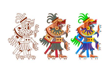 벡터 일러스트 레이 션 흰색 배경에서 갈색, 빨간색, 녹색, 회색, 노란색 색에 초콜릿 패키지 디자인 aztec 카 카오 패턴.