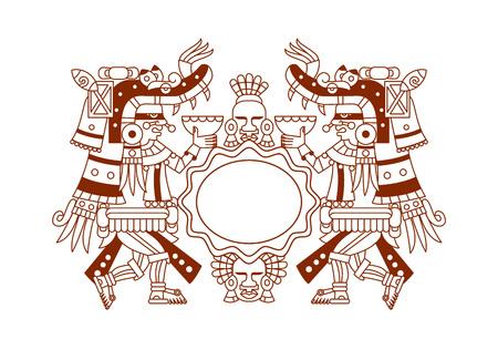 白い背景の茶色、赤、緑、灰色、黄色の色のチョコレートのパッケージ デザインのベクトル図アステカ カカオ パターン。  イラスト・ベクター素材