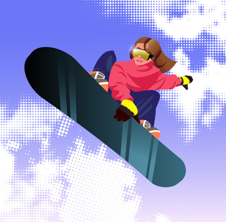 Vector illustration cartoon girl character with snowboard. Illustration