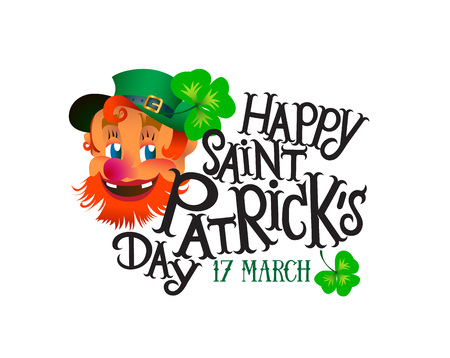 Vector illustration poster to Saint Patricks day with funny cartoon character and decorate text.