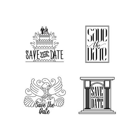 Vector illustration wedding holiday logo collection.