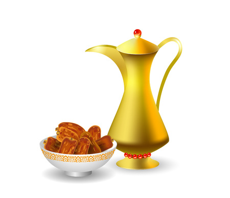 Vector illustration poster for the Muslim holiday of Ramadan with dates and a golden jug isolated. Illustration